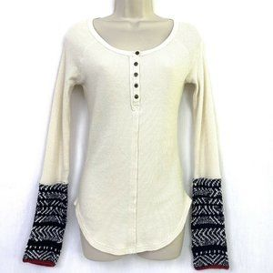 Free People Alpine Knit Cuff Henley Top S Sweater